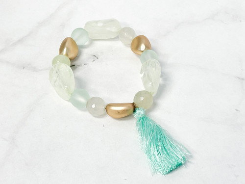 Sea Foam Beaded Bracelet