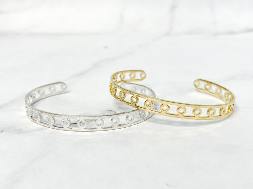Delicate Loop Cuff Bracelet | Rhodium or Gold