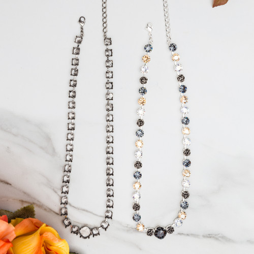 SILVER OX 8.5mm & 12mm Square | Statement Necklace | THREE Pieces