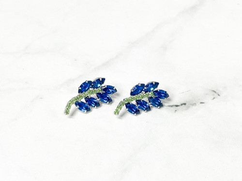 Crystal Rhinestone Leaf Earrings