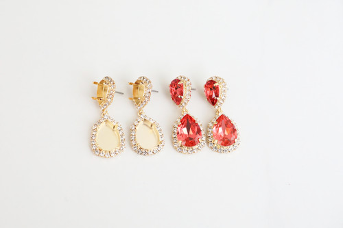 14mm x 10mm & 18mm x 13mm Pear | Crystal Halo Stud Drop Earrings | One Pair