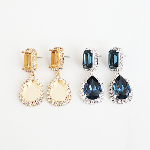 14mm x 10mm Octagon & 18mm x 13mm Pear | Crystal Halo Stud Drop Earrings | One Pair