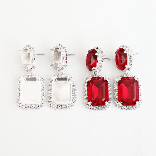 14mm x 10mm Oval & 18mm x 13mm Octagon | Crystal Halo Stud Drop Earrings | One Pair