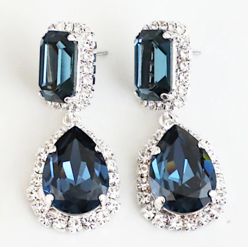 Finished Montana 14mm x 10mm & 18mm x 13mm Octagon | Crystal Halo Stud Drop Earrings | One Pair