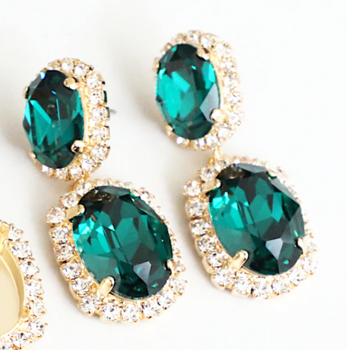 Finished Emerald 14mm x 10mm & 18mm x 13mm Oval | Crystal Halo Stud Drop Earrings | One Pair