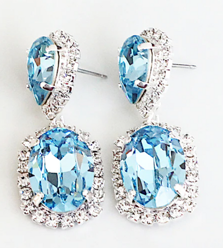 Finished Aqua 14mm x 10mm Pear & 18mm x 13mm Oval | Crystal Halo Stud Drop Earrings | One Pair