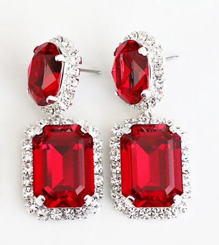Finished Siam 14mm x 10mm Oval & 18mm x 13mm Octagon | Crystal Halo Stud Drop Earrings | One Pair