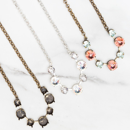 ROSE GOLD 8.5mm & 12mm Round   Alternating Seven Setting Necklace   Three Pieces