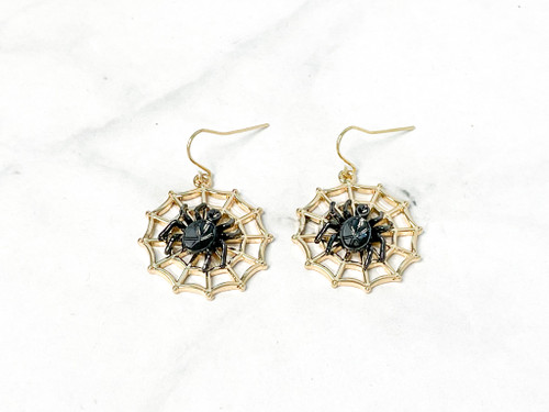 Gold Web with Spider Earrings