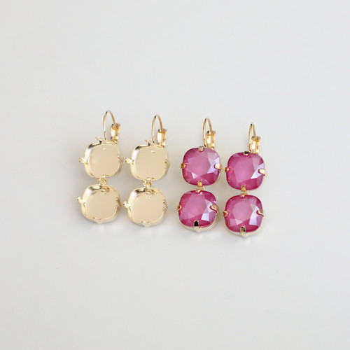 12mm Square | Two Setting Drop Earrings | One Pair