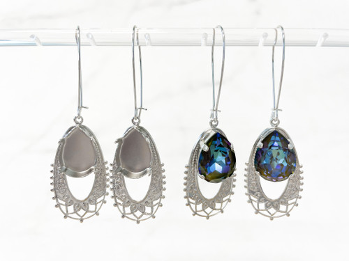 18mm x 13mm Pear   Filigree Wire Earrings   One Pair