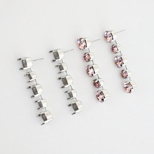 6mm & 8.5mm | Alternating Five Setting Drop Stud Earrings | One Pair