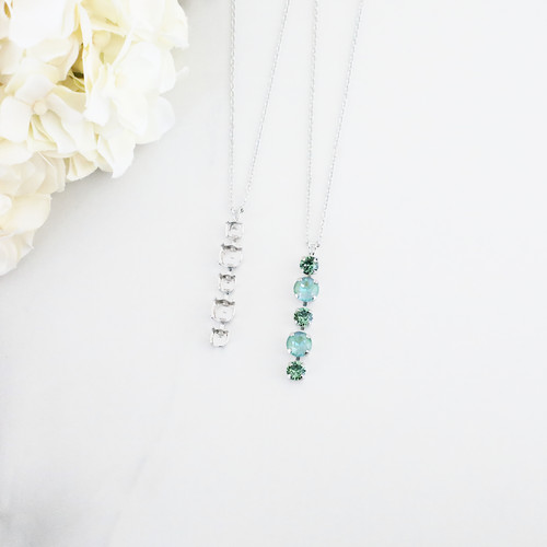 6mm & 8.5mm | Alternating Five Setting Drop On Necklace Chain | One Piece