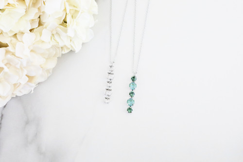 6mm & 8.5mm   Alternating Five Setting Drop On Necklace Chain   One Piece