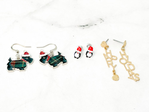 Happy Holiday Earrings | 3 Pairs