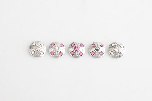 12mm Round   Five Crystal Elements - Line Design   3 Pieces