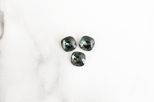Limited Edition VINTAGE | 10mm | Square Cushion Cut | Swarovski Article 4470 | Morion | 3 Pieces