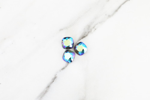 Limited Edition VINTAGE | 10mm | Square Cushion Cut | Swarovski Article 4470 | Morion AB | 3 Pieces