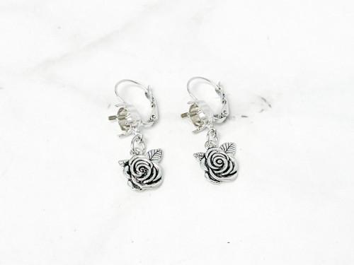 8.5mm   Rose Flower Drop Earrings   One Pair