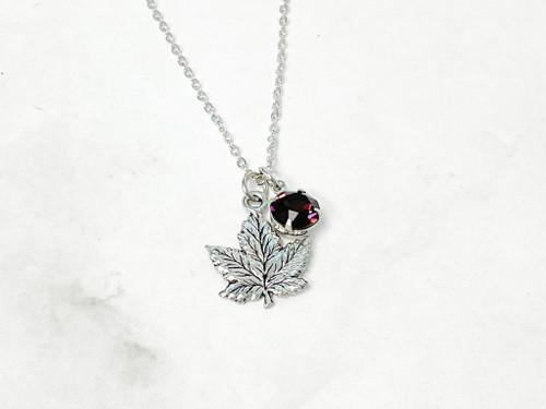 Leaf w/ Swarovski Burgundy Necklace
