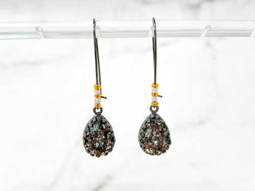Black Patina Pear Wire Earrings w/ Orange and White Beads