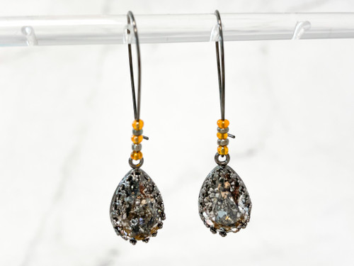 Black Patina Pear Wire Earrings w/ Orange and Chrome Beads