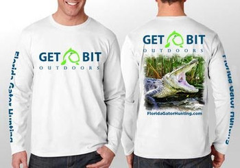 Get Bit Angry Gator Long Sleeve Performance T-shirt - White and Black