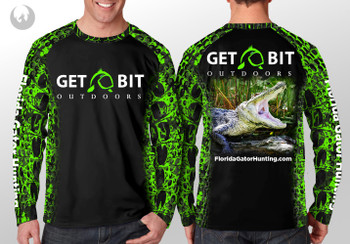 Get Bit Angry Gator Long Sleeve Performance T-shirt - Green and Black