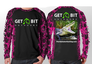 Get Bit Angry Gator Long Sleeve Performance T-shirt - Pink and Black