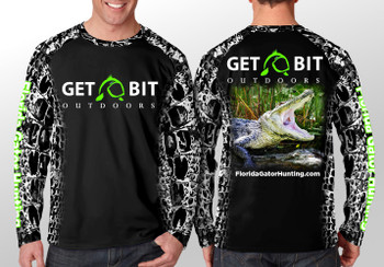 Get Bit Angry Gator Long Sleeve Performance T-shirt - Black and White