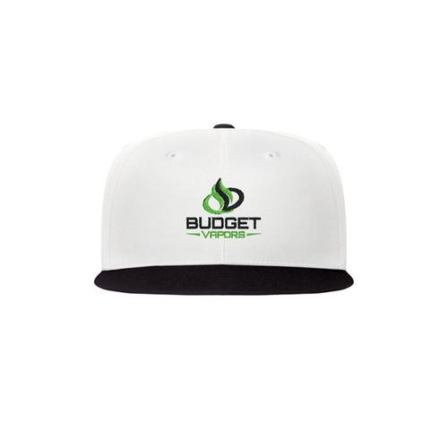 Budget Vapors Hat Flat Brim White Black