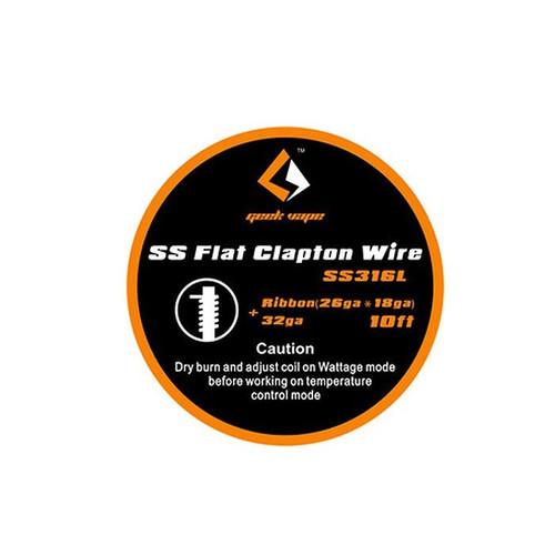 Geek Vape SS Flat Clapton Wire SS316L Ribbon 26GA*18GA + 32GA 10 Feet