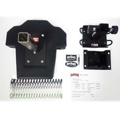 "Whats in the Box: Striking Pad Pad Plate 4 Springs Front Attachment w/ Pull Pins Rear Attachment w/ U Channels for 2"", 3"",4"", 5"" square or rectangle uprights"