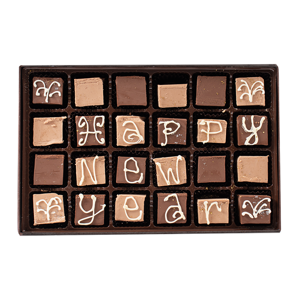 Happy New Year - Large Custom Swiss Fudge Box