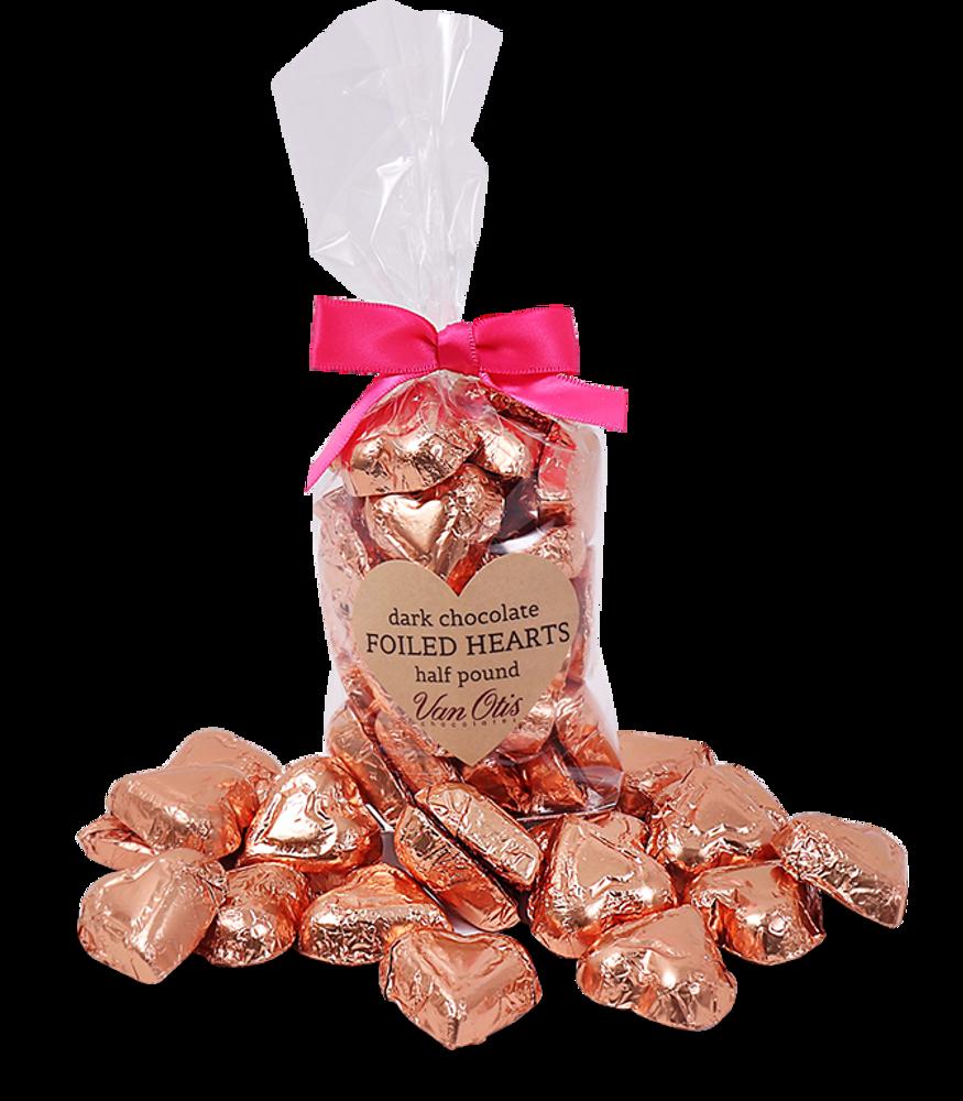 Dark Chocolate Foiled Hearts