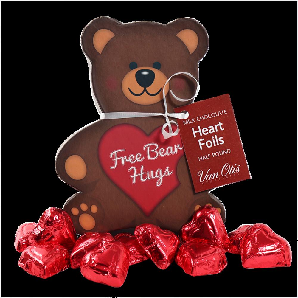 Milk Chocolate Heart Foils in Bear Box