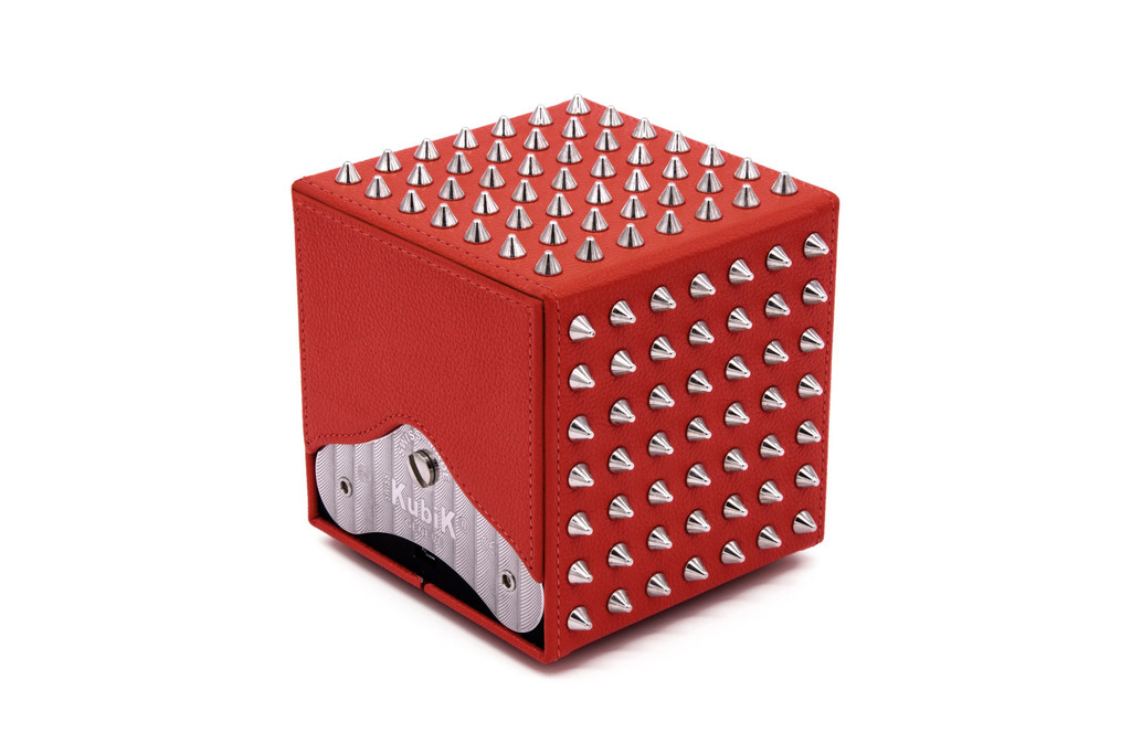 SPIKES - Red leather / Silver