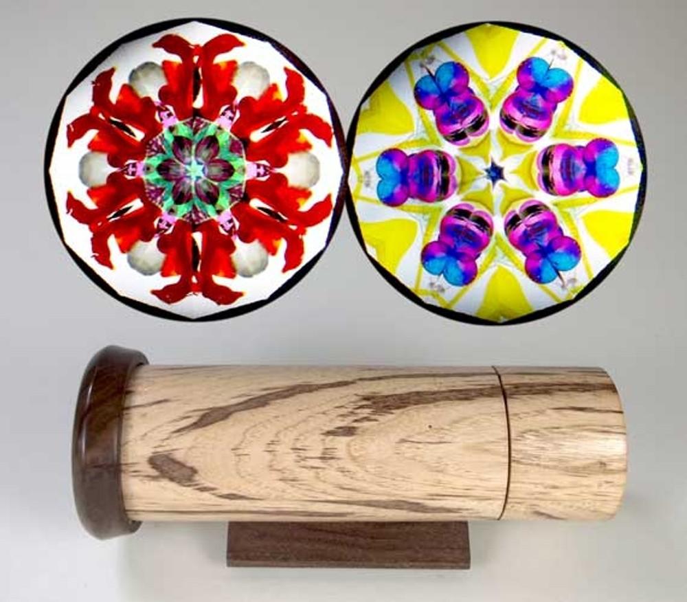 Handheld Kaleidoscope in Pecked Hickory and Figured Walnut
