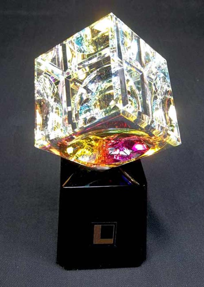 Optical Crystal Cube on Turntable