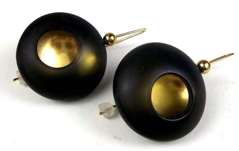 Orb Series Earrings in Black and Gold