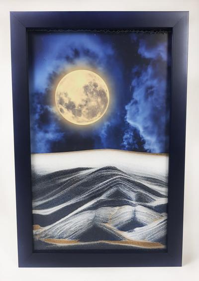 Cloudy Navy Blue Sand Art