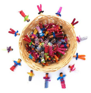 72 Mini Worry Dolls in Basket