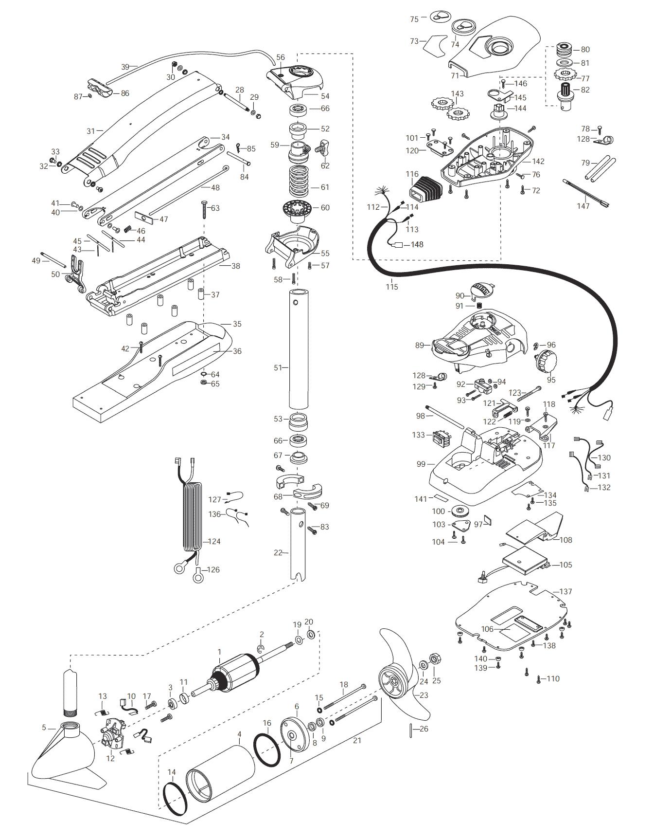 Minn Kota Maxxum 65 (42 inch) Parts - 2003 from FISH307.com New Switch Wiring Diagram Minn Kota on