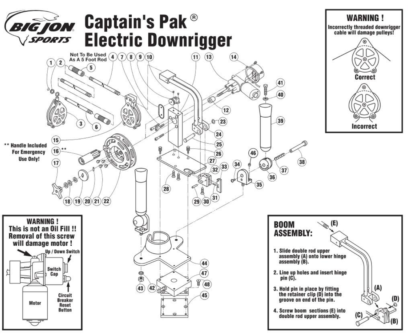 Big Jon Captains Pak Electric Downrigger Parts Motorguide 600 Series Trolling Motor 1998 Up Wire Diagram Expand Product