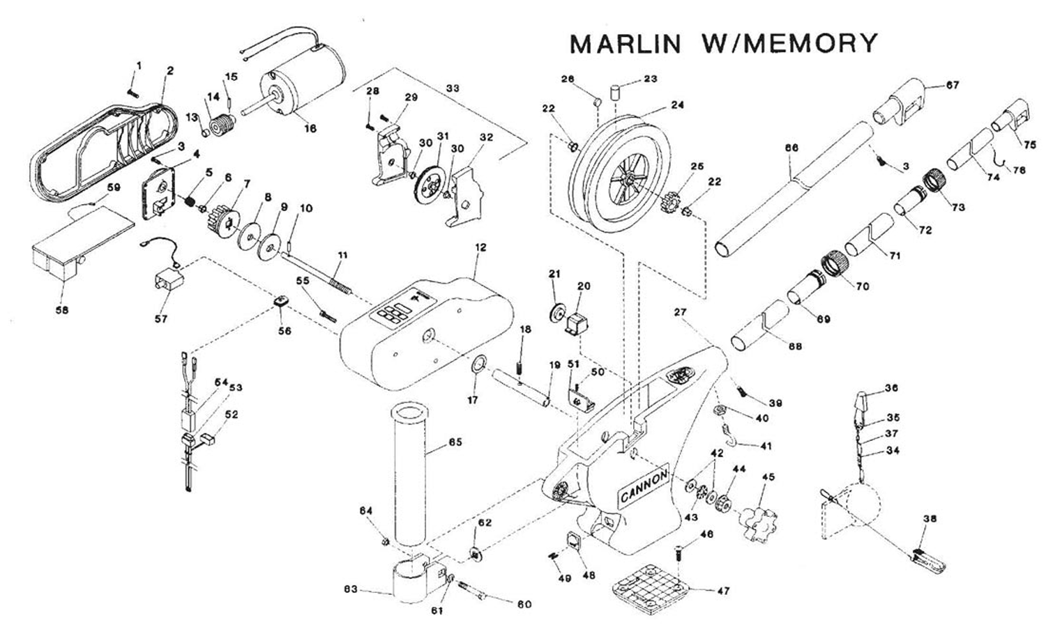 order cannon marlin with memory electric downrigger parts from fish307 com