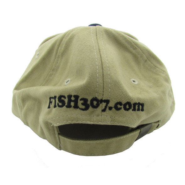 Embroidered Lake George Ball Cap / Hat - Khaki with Green, White & Blue Bill - One Size Fits Most