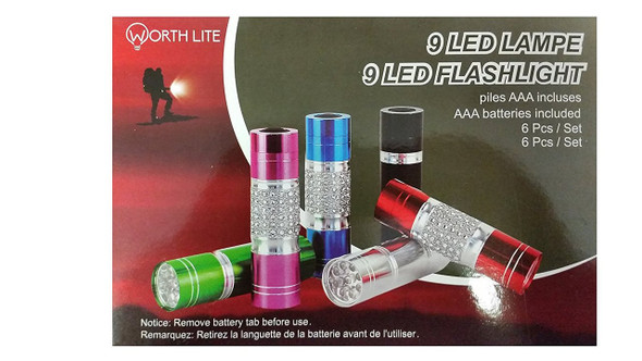 "Worth Lite ""9 LED Flashlight"" 6 Pack"