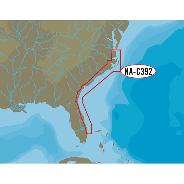 C-MAP NT+ NA-C392 - ICW: Norfolk to West Palm - FP-Card Format