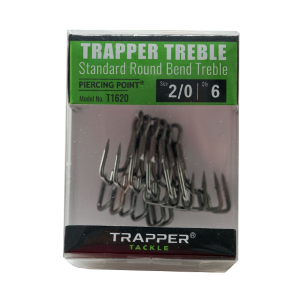 Trapper Tackle 2/0 Standard Round Bend Treble Hooks