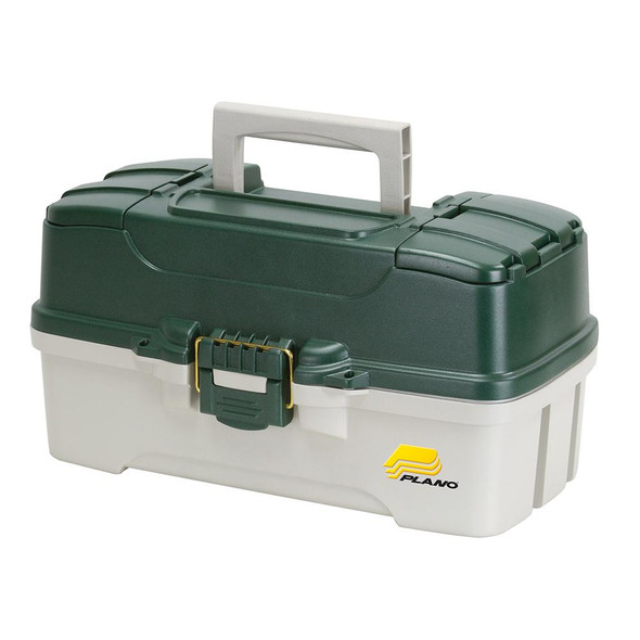 Plano 3-Tray Tackle Box w/Dual Top Access - Dark Green Metallic/Off White - 66568
